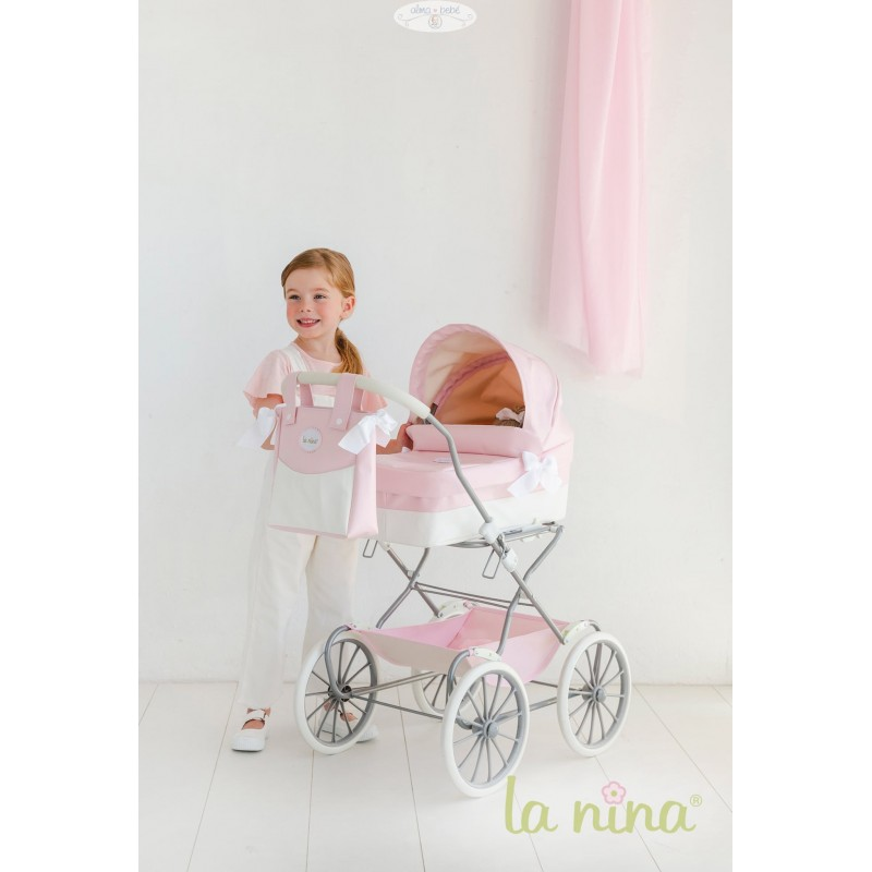 Cochecito de Muñeca Grande La Nina Charol Rosa Alma Bebé